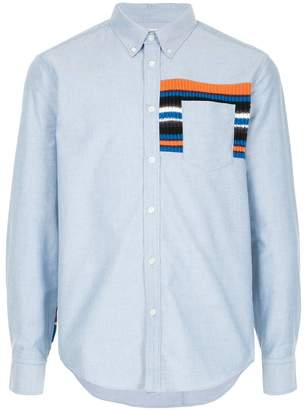 Coohem striped knit panel shirt