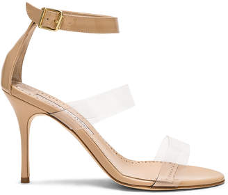 Manolo Blahnik Patent Leather & PVC Kaotic 90 Sandals in Nude Patent & Clear PVC | FWRD
