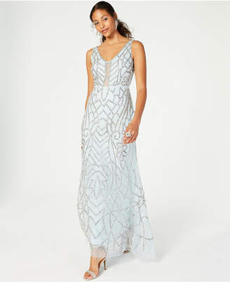 Adrianna Papell Embellished Low-Back Gown