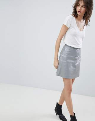 Muu Baa Muubaa Pannalla Metallic Silver Leather A-Line Skirt