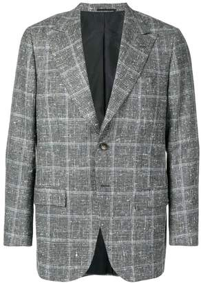 Kiton check flecked blazer jacket