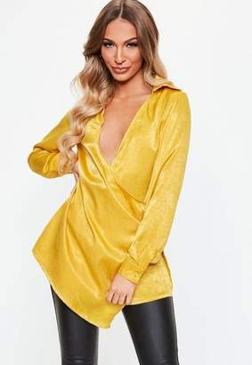 Missguided Chartreuse Satin Drape Wrap Over Shirt