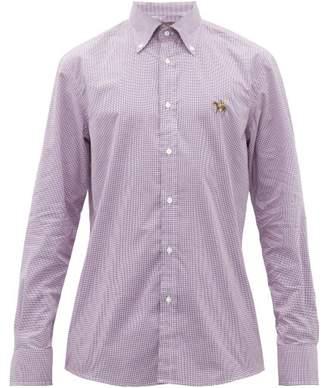 Ralph Lauren Purple Label Logo Embroidered Gingham Cotton Shirt - Mens - Purple White