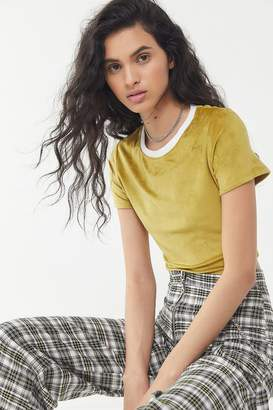 Urban Outfitters Kaleo Velour Short Sleeve Cropped Top