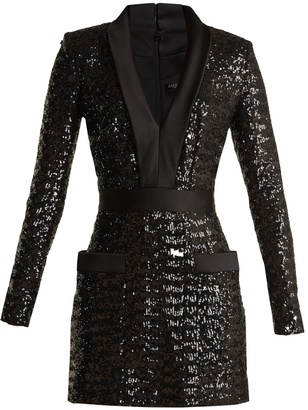 BALMAIN Satin-lapel sequin-embellished mini dress $3,307 thestylecure.com