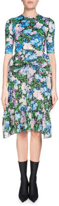 Balenciaga Elbow-Sleeve Floral-Print Fit-and-Flare Dress