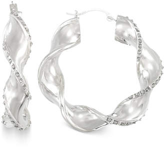 Signature Diamonds Twisted-Swirl Hoop Earrings in 14k Gold over Resin Core Diamond and Crystallized Diamond Dust