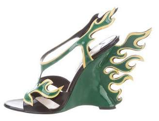 Prada 2018 Flame Patent Leather Sandals