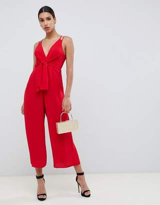 Asos DESIGN jumpsuit with tie front and wide leg