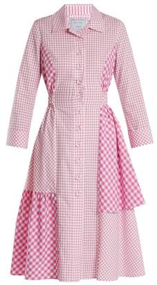 Dovima Paris - Easton Asymmetric Checked Cotton Poplin Shirtdress - Womens - Pink White