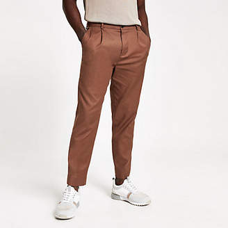 River Island Brown skinny stretch tapered trouser