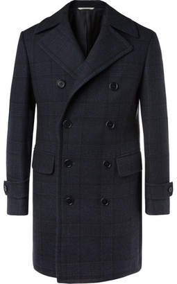 Canali Kei Slim-fit Double-breasted Checked Wool Overcoat