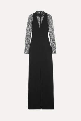 Givenchy Lace-paneled Wool-crepe Gown - Black
