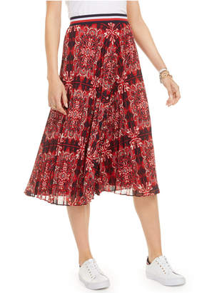 Tommy Hilfiger Bandana-Print Pleated Skirt