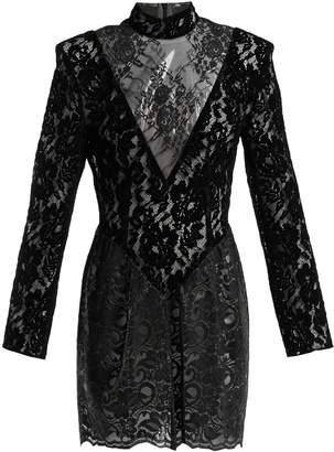 Christopher Kane Patchwork flocked velvet lace mini dress