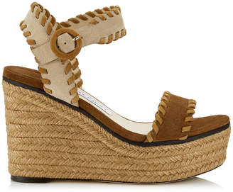 8b7486f1f08 Jimmy Choo ABIGAIL 100 Natural Mix Suede Chunky Wedges with Whipstitching