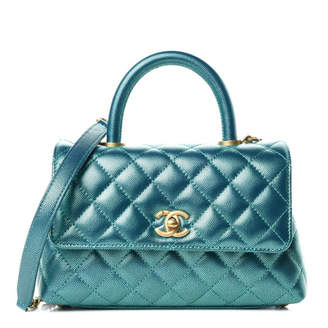 Chanel Coco Handle Flap Quilted Metallic Caviar Gold-tone Mini Turquoise