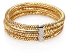 Roberto Coin Primavera Diamond& 18K Yellow Gold Multi-Row Woven Bracelet