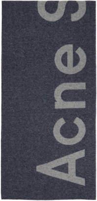 Acne Studios Navy Toronty Logo Scarf