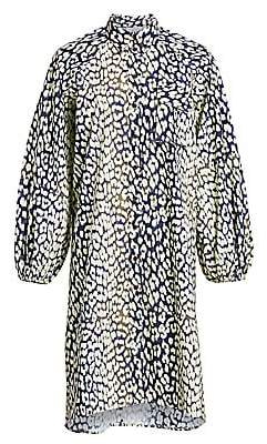 Ganni Women's Leopard-Print Cotton Poplin Shirtdress