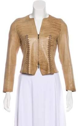 Giorgio Armani Collarless Leather Jacket