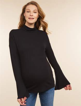 Jessica Simpson Motherhood Maternity Bell Sleeve Side Ruched Maternity Top