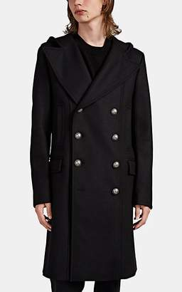 Balmain Men's Wool-Cashmere Hooded Double-Breasted Coat - Black