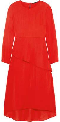 Maje Remania Ruffled Satin-crepe Dress - Red