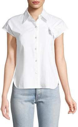 Helmut Lang Button-Front Stretch-Cotton Shirt with Knot Detail