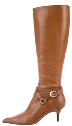 Michael Kors Leather Pointed-Toe Knee-High Boots Cognac Leather Pointed-Toe Knee-High Boots