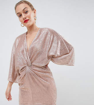 Flounce London Petite wrap front kimono mini dress in rose gold metallic
