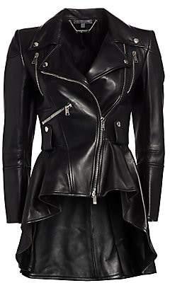 Alexander McQueen Women's Leather Peplum Moto Jacket