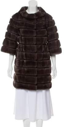 Carmen Marc Valvo Suede-Paneled Mink Coat