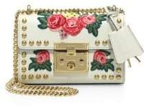 Gucci Padlock Floral-Embroidered Studded Leather Chain Shoulder Bag