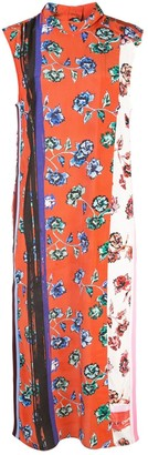 Derek Lam 10 Crosby Belted Sleeveless French Floral Dress with Foldover Collar