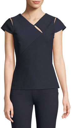Roland Mouret Cap-Sleeve Cutout Back-Zip Top