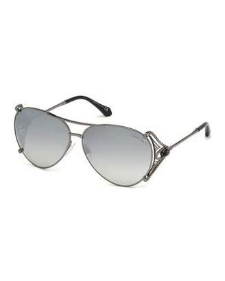 Roberto Cavalli Metal Aviator Sunglasses, Black