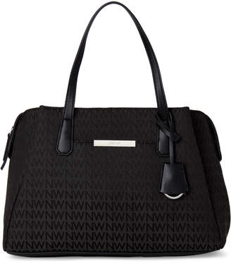Nine West Black Evalena Monogram Satchel