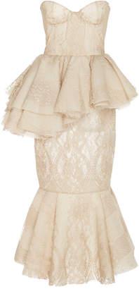 Brock Collection Pierrette Bustier-Detailed Cotton-Lace Peplum Dress