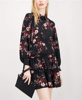 Maison Jules Printed Ruffled Shirtdress