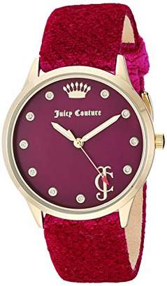Juicy Couture Black Label Women's Swarovski Crystal Accented Gold-Tone and Hot Pink Velvet Strap Watch