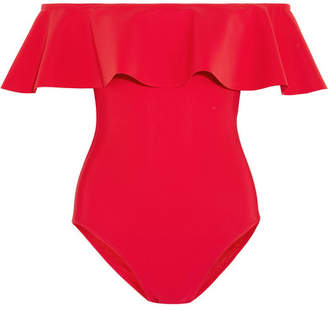 Karla Colletto Zaha Off-the-shoulder Ruffled Swimsuit - Red