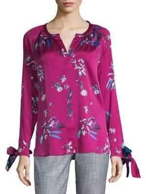 HUGO Floral-Print Long-Sleeve Top