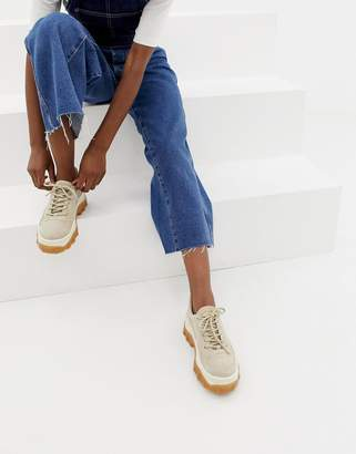 Bronx taupe suede chunky sneakers with gum sole