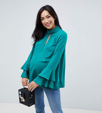 Asos Cut Out Neck Flared Sleeve Blouse