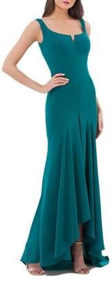 Carmen Marc Valvo Crepe High/Low Gown