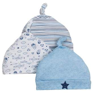 Little Star Organic Newborn Baby Boy Caps, 3-pack