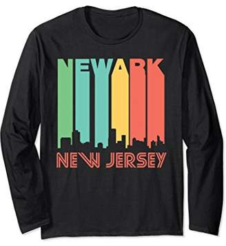 Retro Style Newark New Jersey Skyline Long Sleeve T-Shirt