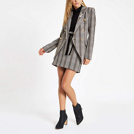 Womens Grey check double-breasted blazer