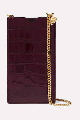 Alexander McQueen Croc-effect Leather Phone Case - Burgundy